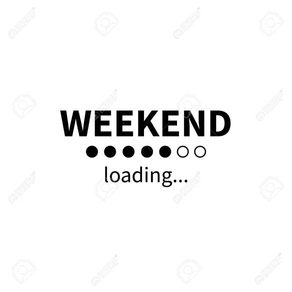 Weekend loading bar. Vector eps funny business concept. Party weekend is coming illustration. Installing Friday Saturday Sunday. Isolated on white background.